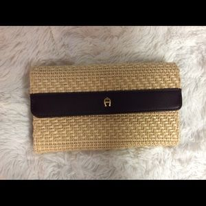 Etienne Aigner Clutch Wallet Natural Woven Leather